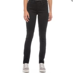Seven7 Black Distressed Moto Jean's with zippers